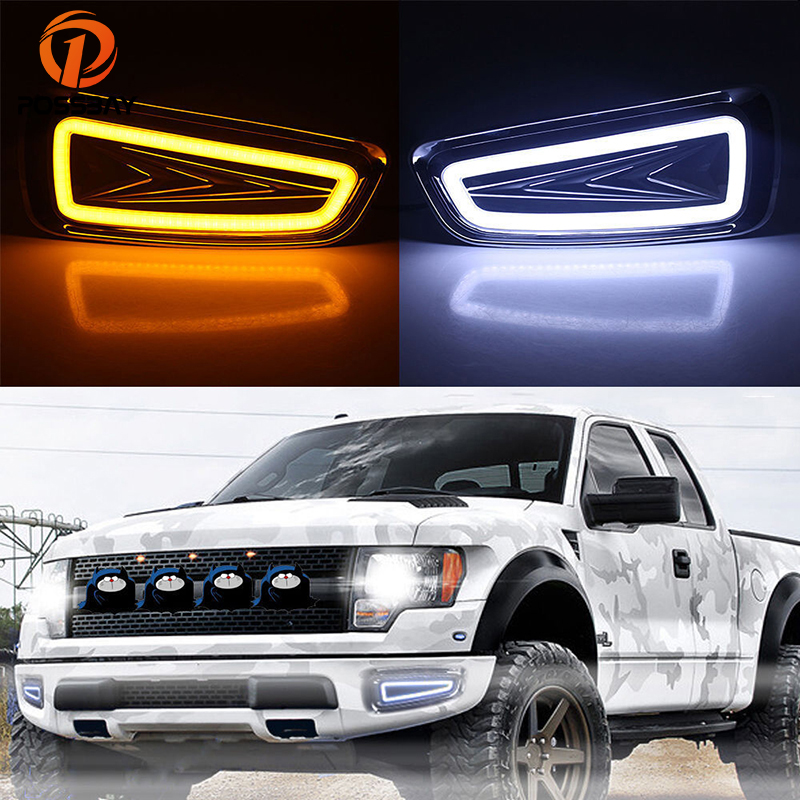 POSSBAY Car DRL LED Daytime Running Lights For Ford Raptor F150 DRL 2009-2015 Turn Signal White/White Yellow Fog Light Lamp eosuns led drl daylights daytime running light with yellow turn signal fog lamp for ford mondeo 2010 12 wire module controller