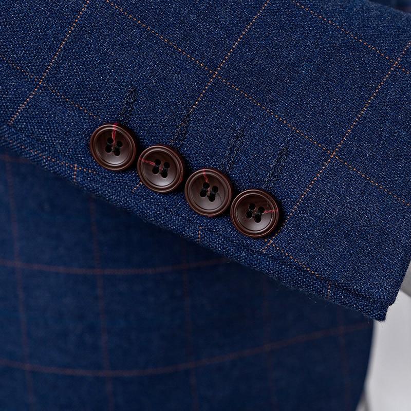 Bleu Design 2019 Nouveau Affaires veste Pour Pantalon Gilet Automne marine Costume Costumes Hommes Printemps Mode Style Gentleman Marié Mariage Décontractée Bleu De qIxx4H