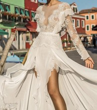 New Design Boho Beach Wedding Dress 2019 Lace Long Sleeve Bridal Gowns Sexy Backless Chiffon Front split Vestido De Noiva