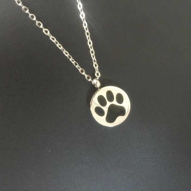 Stainless steel round pet paw print memorial funeral urn ashes stainless steel round pet paw print memorial funeral urn ashes pendant cremation jewelry mozeypictures Choice Image