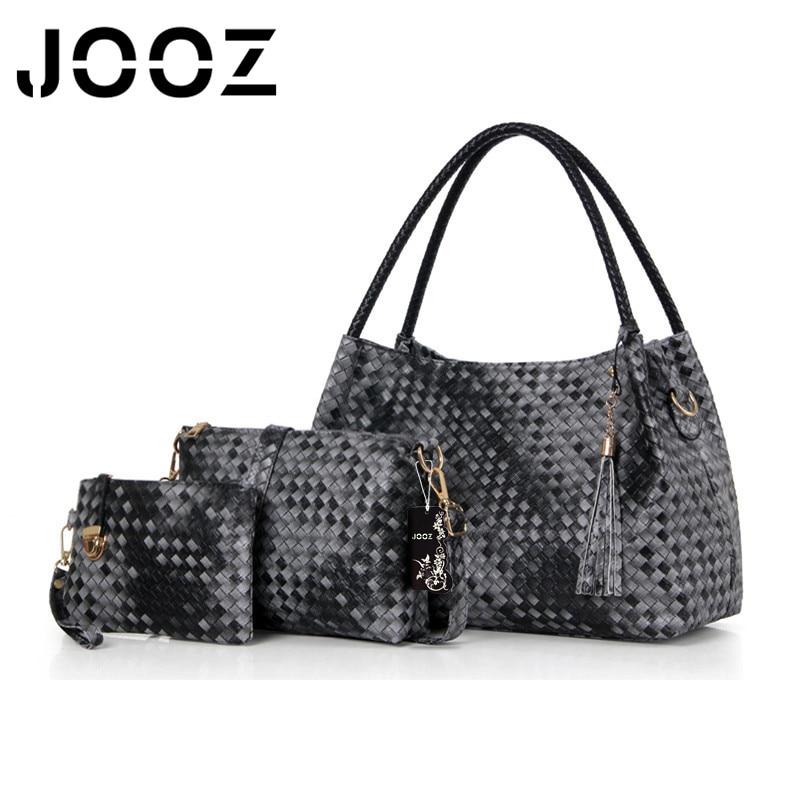 JOOZ Brand Luxury PU Leather Female Bags Lady Knitting Handbag 3 Pcs Composite Bags Set Women Shoulder Crossbody Messenger Bag