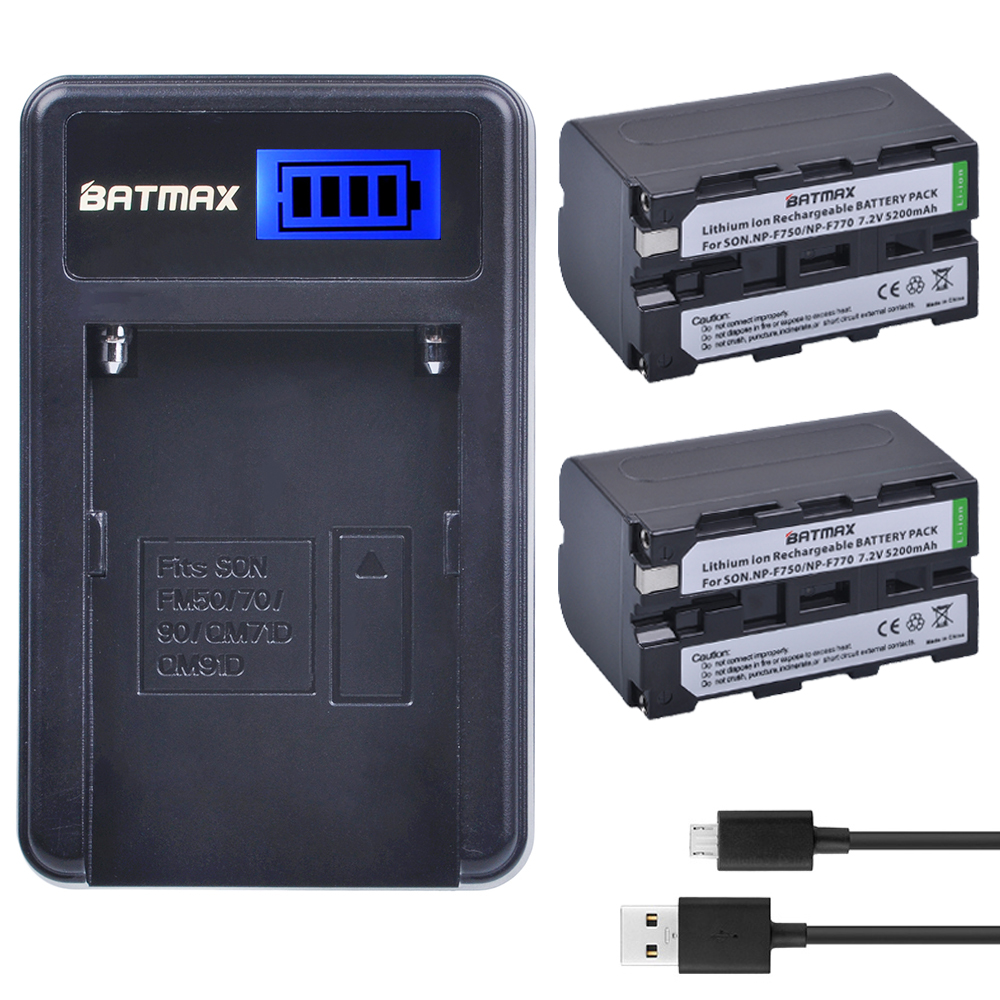 2Pc 5200mAh NP-F770 NP-F750 NP F770 np f750 NPF770 750 Batteries + LCD USB Charger for Sony NP-F550 NP-F770 NP-F750 F960 F970