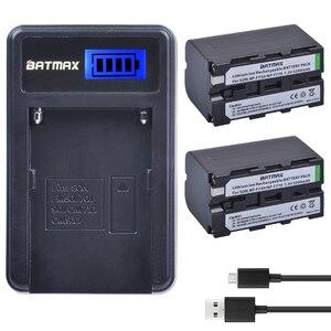 Image 1 - 2Pcs 5200mAh NP F750 NP F770 NP F750 배터리 Akku + LCD USB 충전기 소니 NP F970 F960 F550 F570 QM91D CCD RV100 TRU47E