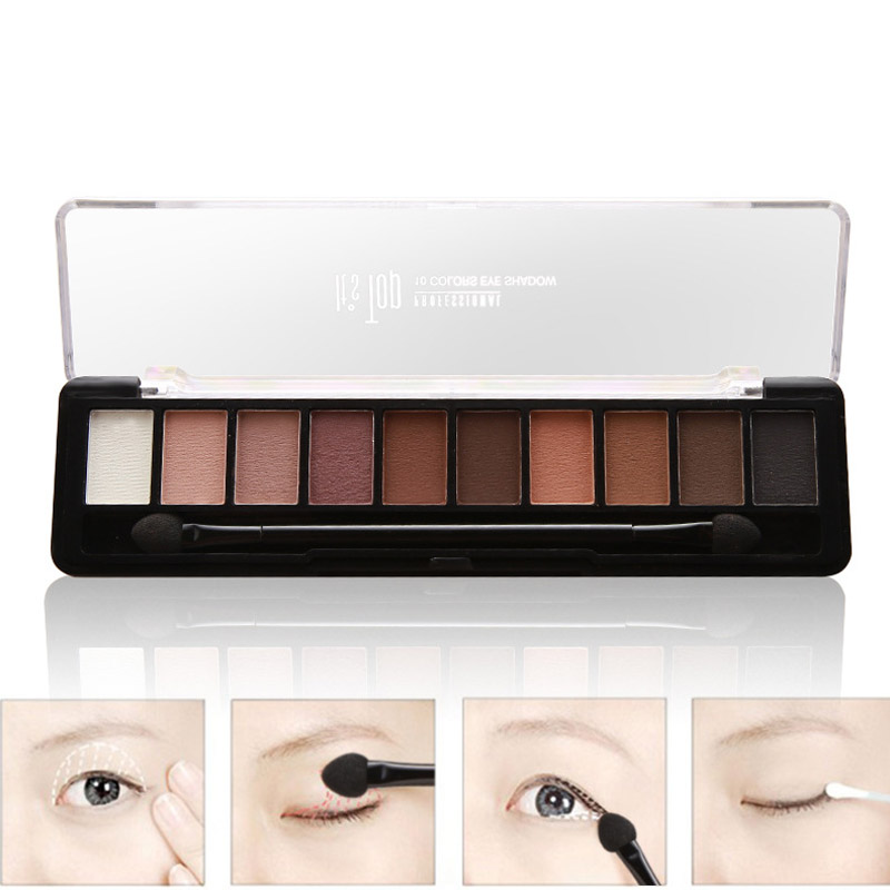 10 Colors Eye Shadow Palette With Makeup Brush Smoky Glitter Matte Cosmetics Make Up Eyeshadow For Makeup Tool  H7JP