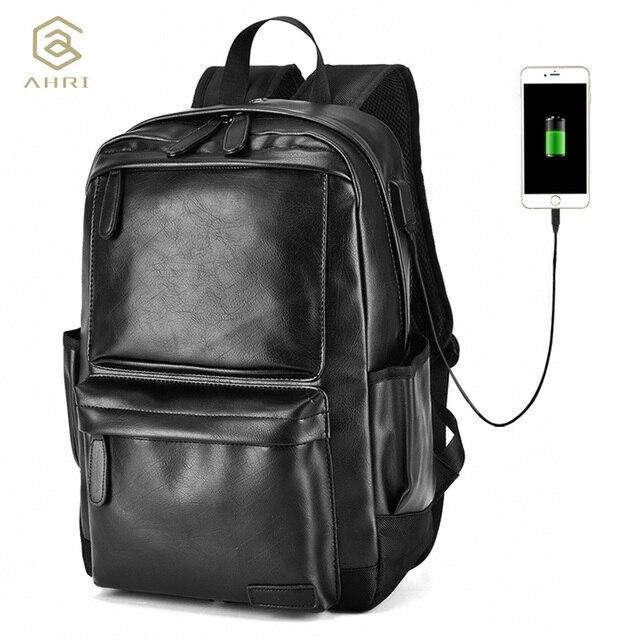 3a5dde6f921f AHRI NEW Unisex Vintage Boy Men Business Casual USB Backpack for School  Soft PU Leather Men s Fashion Shoulder Bag Men Backpack