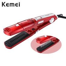 Kemei Электрический паровой выпрямитель для волос KM-3011 паровой спрей для волос керамический электрический утюжок для волос расческа инструмент для укладки