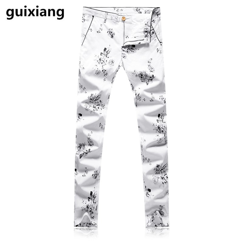 2017 new Mens high quality Small broken flower business trousers Straight pants men leisure business trousers size 29-38