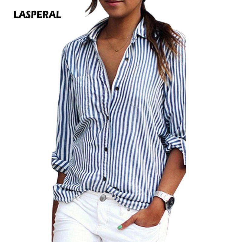 LASPERAL 2018 nuevo otoño mujeres rayas camisa de manga larga Turn-Down Collar suelta Blusas Casual Tops Sexy Tee más tamaño 3XL