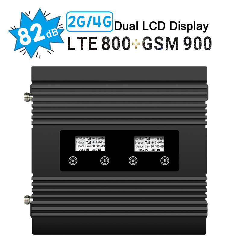4G LTE GSM Repeater 800 900 Mhz Dual Band Mobile Phone Signal Booster Band 20 82dB Gain 4G LTE 800 GSM 900 Amplifier LCD Display
