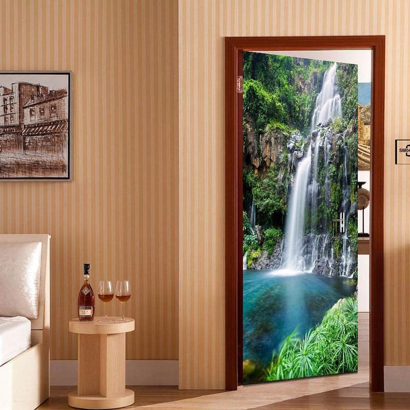 Waterfall Landscape 3D Photo Wallpaper Living Room Bedroom Study Door Sticker Mural PVC Self Adhesive Waterproof Vinyl Wallpaper