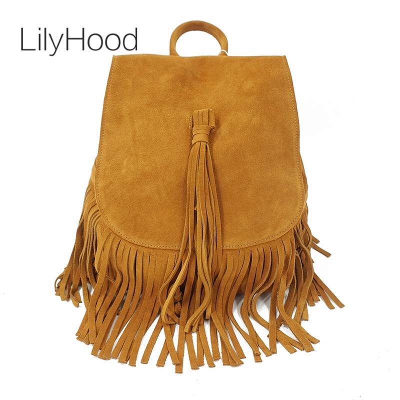LilyHood 2018 Women Genuine Leather Suede Feminine Backpack Rock Music Bohemian Boho Chic Bucket Fringe Brown