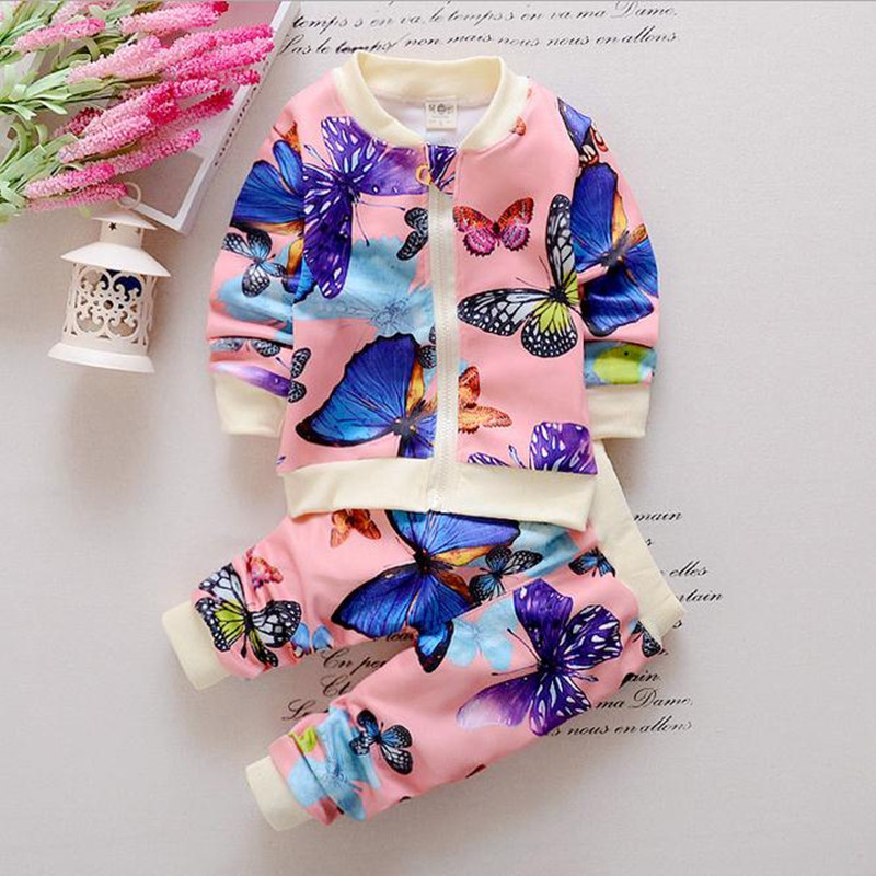 2018 Europe and the United States Spring Autumn Baby Toddler Kids Girls Cotton Clothes Butterfly Cardigan Tops+Pants Outfits Set europe and the united states women s new winter 2016 worn out show thin butterfly sequins loose nine points straight jeans