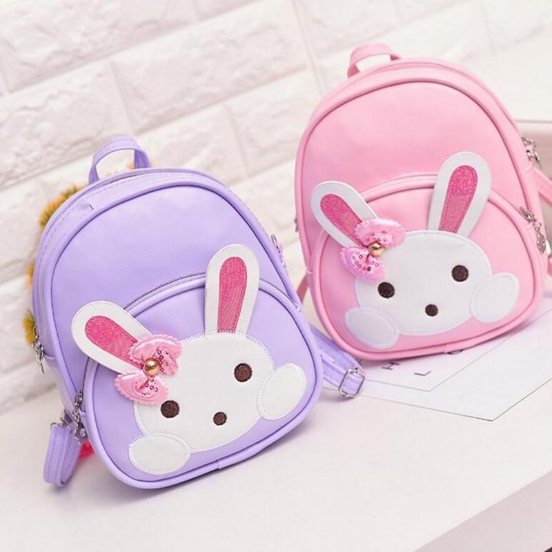 60pcs/lot Lovely  Children Backpack Schoolbags For Kindergarten Baby Girls Leather Rabbit Bow Kids Backpacks Girl School Bags