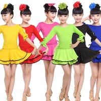 6 Colors Children Latin Dance Dress Girl Salsa Stage Wear Performance Dancing Costumes Kids Ballroom Gymnastics