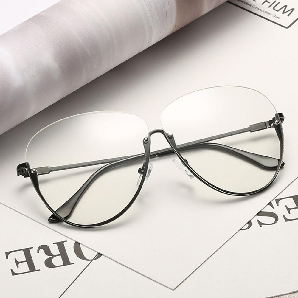 Rimless Cat Eye Women Sunglasses Transparent Fashion Brand Designer Sunglasses Lady Clearly Large Metal Frame UV400 15