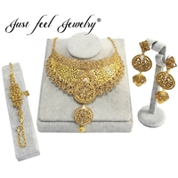 JUST FEEL India Gold Color Jewelry Sets Choker Necklace Earrings Bracelets Nigerian Big African Bridal Wedding