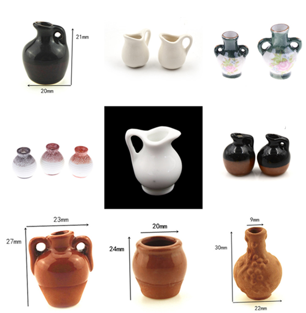 1pcsMini Ceramic Pottery Vase Doll Miniatures 1:12 House Accessories Decorative Miniature Porcelain Dollhouse Furniture Toy
