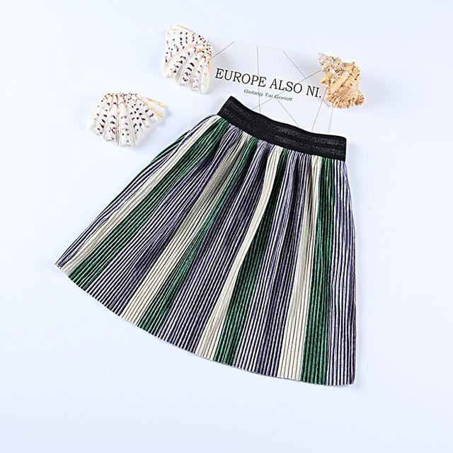 Spring summer girls fashion pleuche pleated skirt kids girl new princess skirts striped patchwork skirt 3-9Y