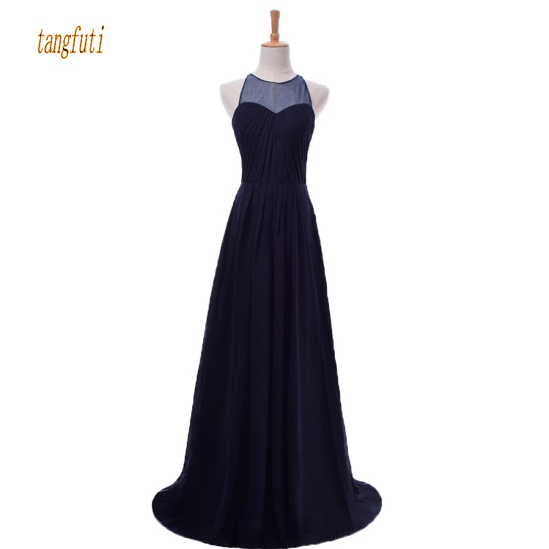 Navy Long   Bridesmaid     Dresses   Sheer Neck Pleats A Line Sleeveless Simple Women Wedding Party Gowns