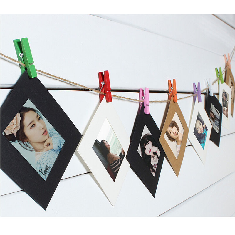 3 inch photo hanging paper frame convenient album display picture frames hanging rope diy picture wall