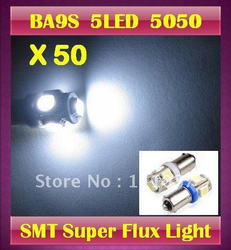 50 X BA9S 5LED SMD High Power Wedge light bulb 5 led Corner lamp interior lights LED Backup Lights -white/red/blue/green/amber