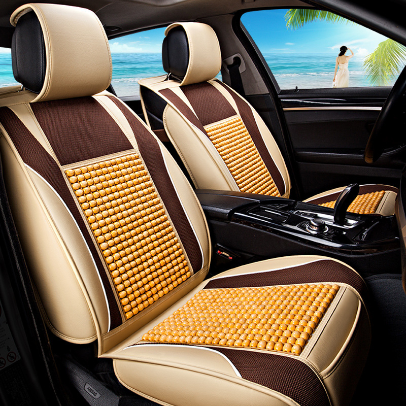 Summer Car Cushion Wooden Bead Seat Cover Full Package General Purpose Cold Pad Natural Color Brown Environmental and Comfort natural car wooden bead cushion car summer maple wooden bead seat cushion summer mat back massage pad single seat cover