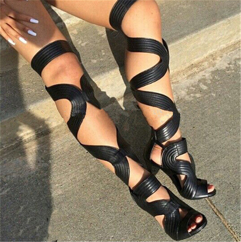 Sexy Open Toe Gladiator Sandals Women Boots Cut-Outs Lace Up Thigh High Boots High Heels Black Leather Shoes Woman Botas Mujer rousmery 2017 the latest rivets embellished open toe knee high sandals boots sexy cut outs lace up woman flat gladiator sandals