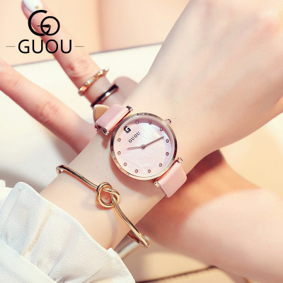 GUOU Women Watches Fashion Quartz Watch Ladies Brand Famous Wrist Watch Female Clock Hodinky Montre Femme Relogio Feminino new rear lid for macbook air unibody 11 6 a1465 lcd back cover 2013 2014 2015 year