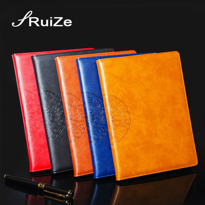 RuiZe hard cover PU leather notebook A4 Big notebook agenda kreatif dicetak vintaj nota buku pejabat alat tulis alat tulis