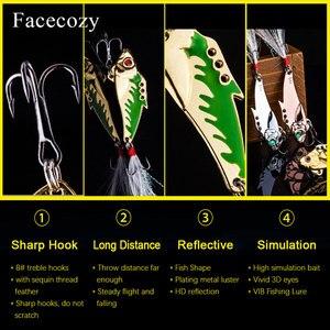 Image 4 - Facecozy Metal Vib balıkçılık Lures yem 45mm 7.3/9.3g levrek 1 adet yapay yem batan balıkçılık cazibesi titreşim 8 # kanca 3D gözler