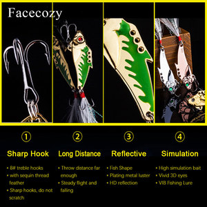 Image 4 - Facecozy メタル Vib ルアー餌 45 ミリメートル 7.3/9.3 グラム海低音 1 個人工餌シンク釣りルアー振動 8 # フック 3D 目