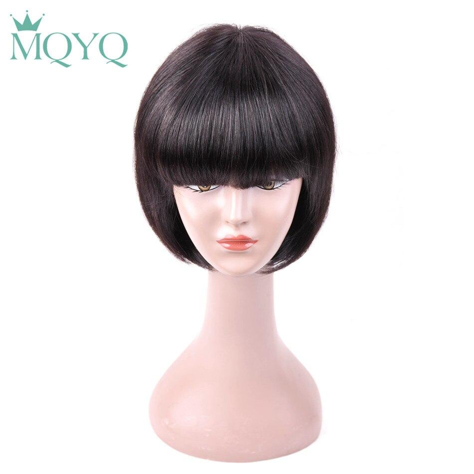 MQYQ Bob perruque de cheveux humains perruques pour les femmes noires brésilienne droite courte perruques de cheveux humains avec bébé cheveux plat Bang naturel 807