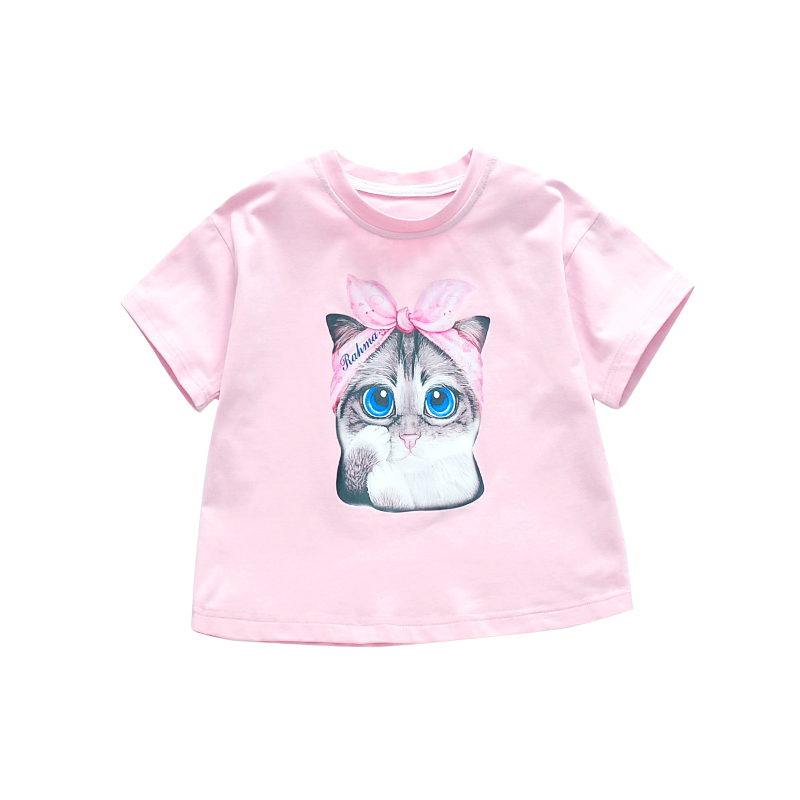 Baby Kids O-neck T-<font><b>shirts</b></font> For Girls Clothes Short Sleeve Cartoon Tees Children Tops <font><b>2</b></font> 4 6 7 8 9 10 11 12 Years Girl's Tee <font><b>Shirts</b></font> image