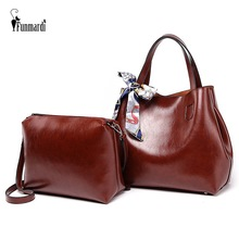 FUNMARDI Luxury Women Handbags Composite Bags For Shoulder Retro Oil Wax Leather Woman Brand Top-Handle WLHB1936