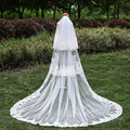 White Ivory Party Bride Wedding Veils Chapel train 2016 3m Wedding Lace Veils Applique Three Layer Bridal Wedding Cheap