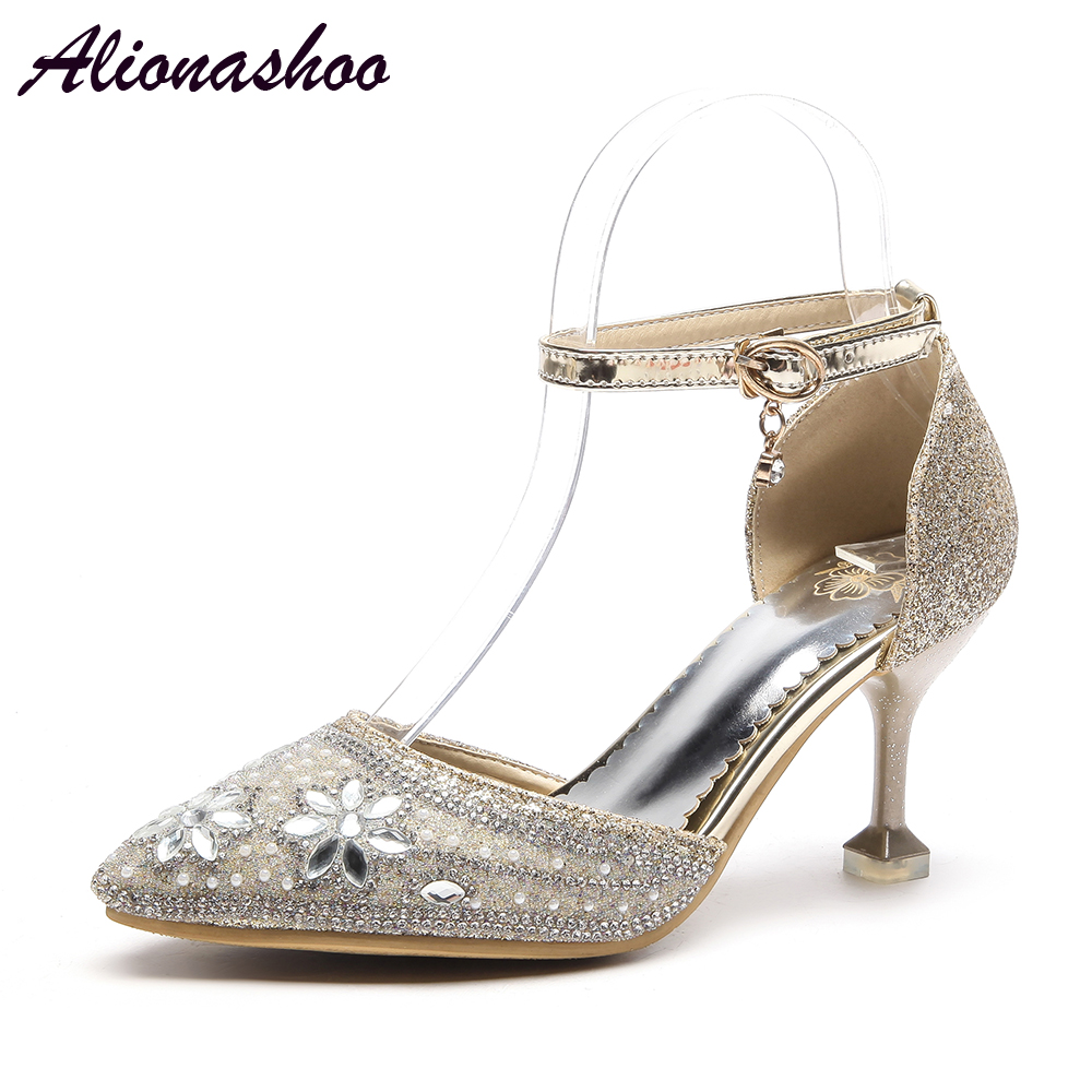 Alionashoo New Wedding Shoes High Heels Gold Silver Women Pumps 2018 Special Sequins Stable Thin Heel Pointed Toe Female Size 48