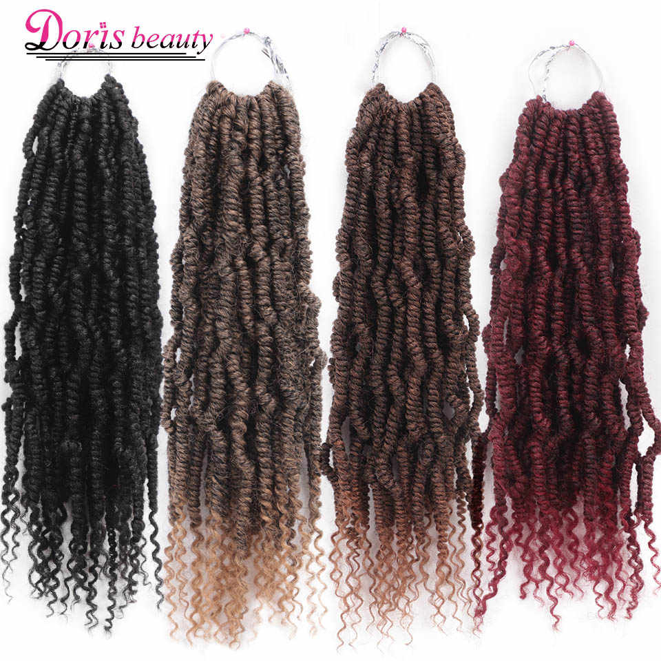 Passion Spring Twists Synthetic Crochet Hair Extensions Ombre Crochet Braids Fluffy Kinky Curly Bomb Twist Braiding Hair Bulk