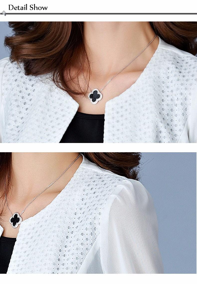 Women Black White Gauze Jacket Summer 2016 Chiffon Cardigan Sexy 34 Sleeve Plus Size Slim Jackets Office Lady Coat Tops A385  h