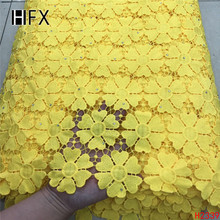 HFX African Cord Lace Fabric Yellow High Quality Party Dress Water Soluble Nigeria 2019 Guipure X2339