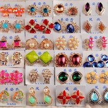 Toptan 20 çift/grup Mix Tasarlanmış Kadın moda taşlar Küpe Kristal Rhinestone Küpe Gümrükleme Takı Kadınlar için