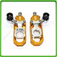 Motorcycle Chain Tensioner Adjuster with bobbins kit for Yamaha R6 YZF R6 2006 2007 2008 2009 2010 2011 2012 Gold&Silver