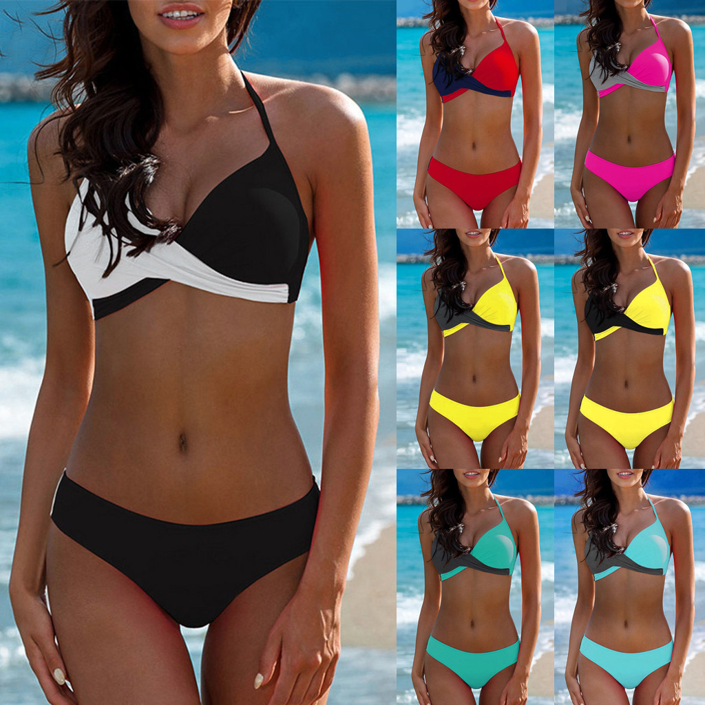 Swimsuit Padded Bikini-Set Beachwear Tankini Push-Up-Bra Low-Waist Two-Pieces Womens title=