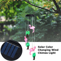 Waterproof Wind Chimes Flamingo Solar Light Color Changing LED Animals Bird Light Christmas Outdoor Home Garden