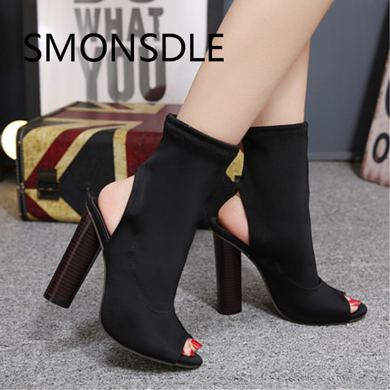 2018 Fashion Spring Summer Strech Fabric Women Boots Peep Toe Slip On Women Shoes High Round High Heels Ankle Boots Shoes Woman