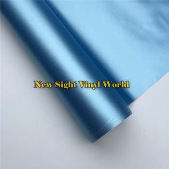 Premium Cast Vinyl Lake Blue Matte Satin Metallic Car Vinyl Wrap Film Roll Air Bubble Free Car Wrapping Foil Decal