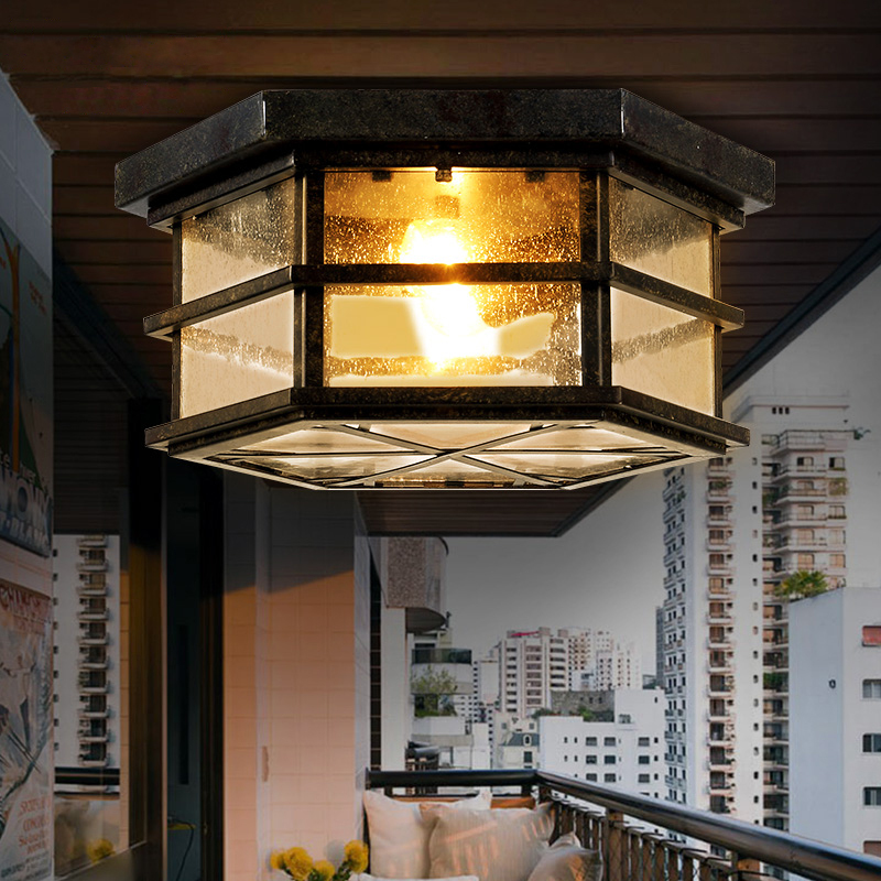 American vintage Iron Hexagonal ceiling light glass lampshade with edsion bulb lamp e27 for balcony and dining room