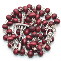 Rose scented catholic rosary round wood bead rosary with papa cross and madonna center