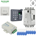 Система контроля допуска к двери RAYKUBE  сканер отпечатков пальцев + Электрический врезной замок  RFID считыватель отпечатков пальцев  клавиату...