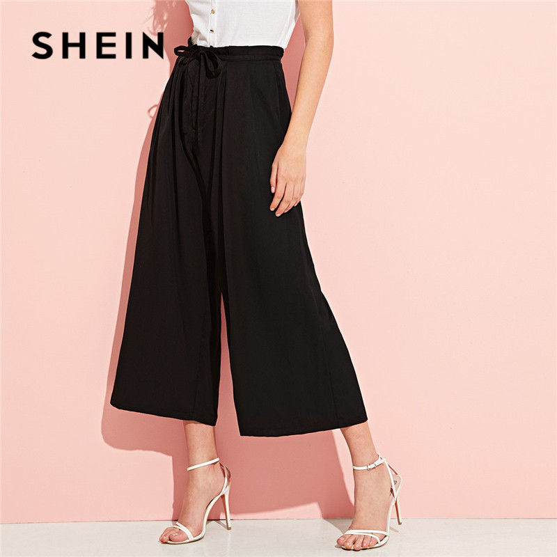 SHEIN Elegant Drawstring Waist Pleated Black   Wide     Leg     Pants   Women Spring Solid HighStreet High Waist   Pants   Casual Trousers