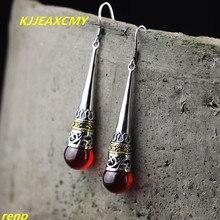 KJJEAXCMY Fine jewelry S925 sterling silver jewelry long paragraph garnet red lady earrings Thai silver new kjjeaxcmy fine jewelry 925 thai silver garnet thai onyx ginkgo biloba open ring ring